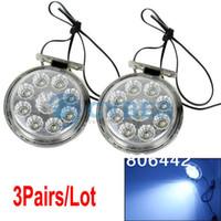 TK0513# LED 6 Cheap 3Pairs Lot 3W 9LED Car Daytime Running Lights Round Shape DC12V Fog Lamp Driving Day Light TK0513