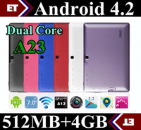 Cheap Allwinner A23 Dual Core 7 inch capacitive Tablet pc Android 4.2 jelly bean Dual Camera 512M Ram 4GB Rom Play Store