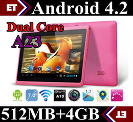 Freeshipping 7 Inch A23 Dual Core Tablet Allwinner Android 4.2 Capacitive 512MB 4GB Dual Camera X2