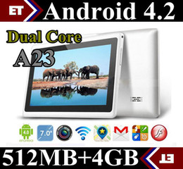 Wholesale 30X Allwinner A23 Dual Core inch capacitive Tablet pc Android jelly bean Dual Camera M Ram GB Rom Play Store