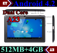 Wholesale Q88 Dual Core Tablet PC Inch Capacitive Screen Android AllWinner A23 Ghz MB RAM GB WIFI Dual Camera MID Colors In Stock