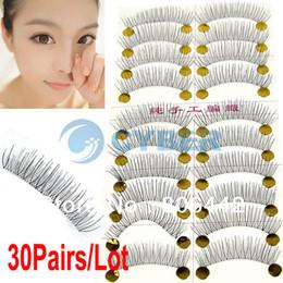 Wholesale Hot Sale Pairs Handmade Fake False Eyelash Eye Lash Natural Look Transparent Stem Black