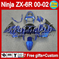 Wholesale 7gifts Free Customized For KAWASAKI black flames ZX R ZX6R NINJA MC766 ZX R ZX636 blue black ZX Fairings