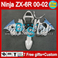 Wholesale 7gifts For KAWASAKI NINJA blue ZX6R ZX R ZX R MC735 ZX636 ZX Pearl White blue Free Customized Fairing Kit
