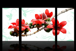 3 pieces Modern Wall Painting The red flower branch picture wall art oil Painting home decor Art Picture Canvas Prints