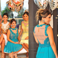 Cheap 2014 Sexy A-line Illusion Crew Neckline Sleeveless With Applique Hollow Back Mini Cocktail Gown Blue Party Dresses Dhyz 01