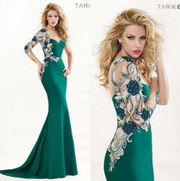 Wholesale One Long Sleeve Sweetheart Tarik Ediz Spring Summer Mermaid Evening Dresses Applique Beaded Elie Prom Dresses Crystal Evening Gowns