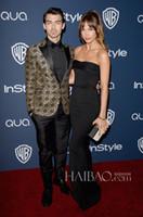 Wholesale 2014 st Golden Globe Awards Eevning Dresses Blanda Eggenschwiler Sexy Black Satin Strapless Backless Sleeveless Floor Length Sweep Train
