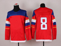 Cheap Wholsale Team Russia Ice Hockey Jerseys Alex Ovechkin #8 Red for 2014 Sochi Winter Olympics Size 48-56
