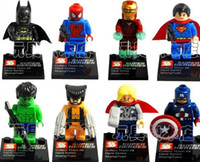 Wholesale 4set Super Heroes The Avengers Iron Man Hulk Batman Wolverine Thor Building Blocks Sets Minifigure DIY Bricks Toys without package box