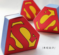 Wholesale Superman Boys Candy Favor Holders Paper Blue American Design Child Party Candy Chocolate Gifts Boxes B2655