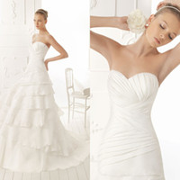 Wholesale Elegant Simple A line Simple Bridal Strapless Gown Sweep Train Chinese Chiffon Wedding Dress DL1304139