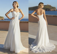 Wholesale Custom Sweetheart Crystal Ruched Empire Lace up A line Sweep Train Chiffon Bridal Dress New Model Beach Wedding Dresses DL10292