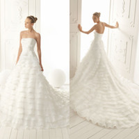 Wholesale Elegant A line Simple Bridal Strapless Layered Gown Court Train Chinese Bow Knot Chiffon Wedding Dress DL1304140