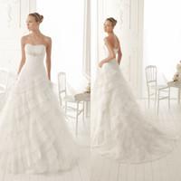 Wholesale Elegant A line Bridal Strapless Layered Draped Gown Sweep Train Chinese Beading Chiffon Wedding Dress DL1304141