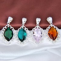 Pendant Necklaces glam - Glam Luxe Mysterious Emerald Color crystal Water Drop Silver Pendant
