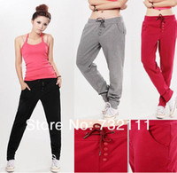 Cheap Fashion Korean Style Women Casual Drawstring Sweatpant Sports Harem Pants Yoga Wide Leg Palazzo Trousers Jeans Gym Clothes