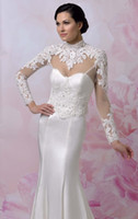 Cheap 2014 Mermaid Wedding Dresses New Year Charming Romantic Mermaid Trumpet High Collar Long sleeve Net Tulle Applique Lace Stretch satin
