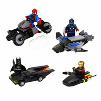 Wholesale 4Styles Super Hero Spider Man motorcycle Batman Aberdeen chariot Iron Man building blocks toys
