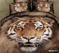 Adult Twill 100% Cotton 2014 New Design 3D Animal Brown Tiger printed with Queen King size bedcovers unique bedding set 3D Bed linen -GD-002