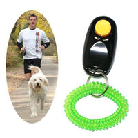 Wholesale S5Q Pet Dog Training Aid Trainer Clicker Button Obedience Wrist Strap Agility Cat AAAARP