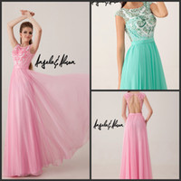 Cheap 2014 Aqua Pink Backless Prom Pageant Dresses Angela and Alison 41017 Jewel Lace Crystal Beaded Evening Wedding Gowns Dresses Floor Length