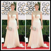 Model Pictures annual pictures - 2015 White The st Annual Golden Globe Awards Celebrity Red Carpet Evening Dresses High Neck Beaded Floor Length A Line Chiffon Zipper Back