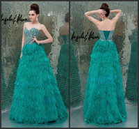 Cheap Design Fashion Feather Crystal Bead Sweetheart Neckline Corset Green Formal Evening Dresses Lace-Up Sexy Party Prom Dress Gowns No Sleeve