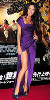 Cheap 2014 Megan Denise Fox Evening Dresses Purple One-shoulder Satin Front Slit Backless Floor Length Sheath Column
