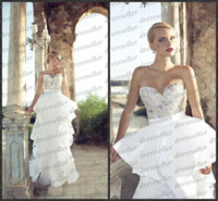 Cheap 2014 Hot Sale Luxury Italy Style Sweet-heart Mermaid Long White Tiered Satin Skirt Crystals Full Beaded Bodice Wedding Dresses
