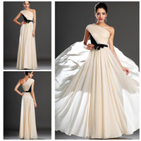 Cheap Best Chioce 2014 In Stock- High Quality One-Shoulder A-Line With Pleates and Bow Sash Floor-Length Chiffon Party Dresses Prom Dresses DH580