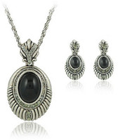 Wholesale sets in fashion jewelry set Vintage jewelry Ancient silver oval gemstone crystal necklaces pc earrings pair