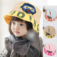 Unisex Summer Bucket Hats 2014 Hot Sale New Fashion Cute Animals Letter Pattern Korean Style Cotton Children Unisex baby Bucket Hats 15 pcs lot PWM6005