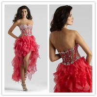 Wholesale QM Stunning Best Selling Sexy Formal Gown Evening Red Sweetheart Rhinestone Beaded See Through Corset Ruffles High Low Prom Dresses