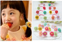 Wholesale Endearing Popular Elastic Hair Holder Fascinating Covetable Hair Ties with Double Sunflower Ornaments for Sale FS043