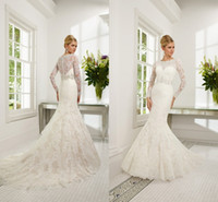 Wholesale 2014 New lace Long Sleeve Dress Scoop Sash wedding Dresses Capped Mermaid Trumpet Gown Court Train Bridal Gowns