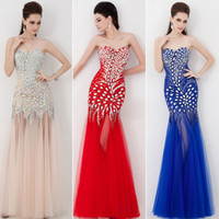 Designer 2014 Sweetheart Formal Chiffon Tulle Crystal Red Ch...