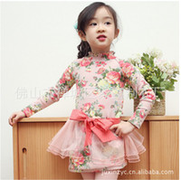 TuTu Winter Pleated China Origin 2013 girls winter cotton panels add fluff hair princess dress puff sleeve lace dress