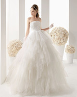Wholesale Beautiful Fashion Ball Gown Wedding Dresses Strapless Lace Tiers Organza Court Train Bridal Wedding Dresses Custom