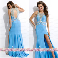 Cheap Elegant Mermaid Chiffon Sheer Neck Beads Crystal Backless Zipper Key Hole Side-Split Prom Gown 2014 Sexy Miss Pageant Dress For Teens