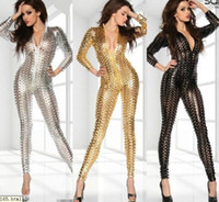 Wholesale Sexy Gothic Punching Lycra Faux Leather Hollow out Catsuit Bodysuit Silver Gold Black
