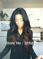 Cheap HOT Fashion two tone #1b #4 Peruvian human hair ombre lace front wig for black women Freeshipping