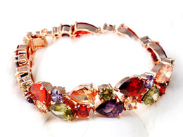 18K Gold Plated My Mona Lisa Multicolor CZ stones Cluster Bracelet
