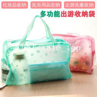 Wholesale 3064 creative home travel necessary floral transparent waterproof cosmetic bag toiletry kits Bathing pouch