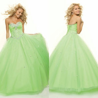 Wholesale Elegant Homecoming Party Strapless Evening Beaded Lace Up Floor Length Tulle Satin Long Ball Gown Princess Green Prom Dress DL1304118