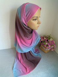 Wholesale mu255 new arrival Single jersey fabric muslim long scarf cotton blent gradient ramp muslim hijab