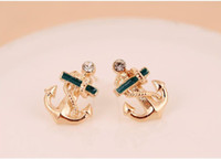 Stud anchor earrings studs - Korean Style Sailor Anchor Clear Crystal Rhinestone Gloden Stud Earrings