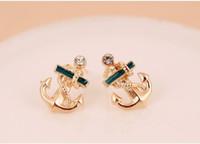 anchor earrings studs - Korean Style Sailor Anchor Clear Crystal Rhinestone Gloden Stud Earrings