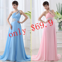 Wholesale Cheap In Stock Under Long Prom Gowns Blue Pink One Shoulder Sweep Train Beads Sequins Pleats Lace up Chiffon A Line Evening Gowns SD006