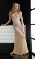 Wholesale Custom made Newest Luxury Beading Sequins Sexy Open Back Long V Neck Halter Natural Nude Pageant Dresses Prom dresses